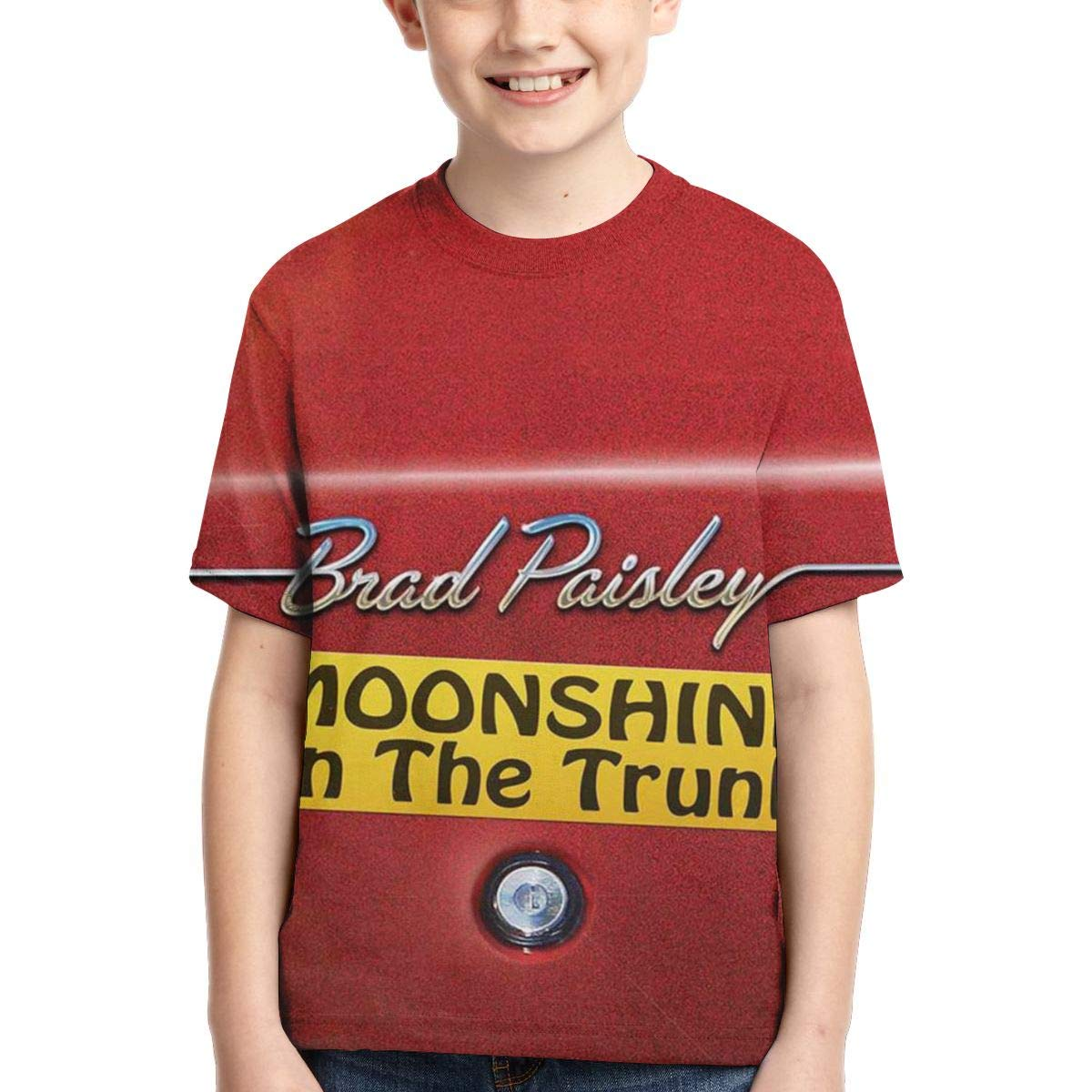 BowersJ Kids Brad Paisley Moonshine in The Trunk Design 3D Printed Short Sleeve T-Shirt for Girls /& Boys Black
