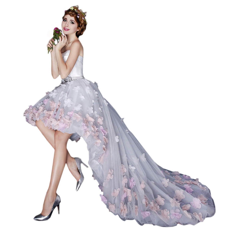 Vimans? Women's Elegant High Low Strapless Flowers Bridal Wedding Dresses