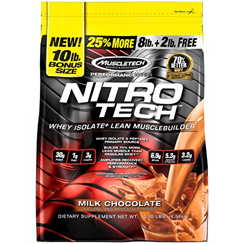 MuscleTech NitroTech Whey Protein Powder, Whey Isolate and Peptides, Milk Chocolate, 10 Pound