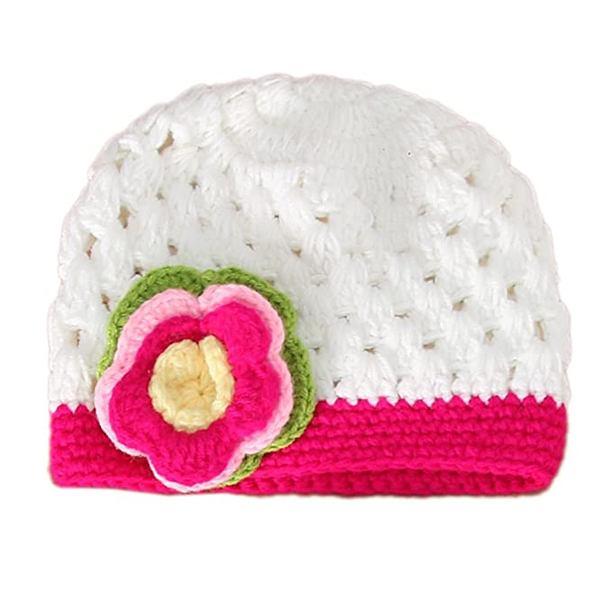 CHIC-CHIC Tricot Bébé Fille Garçon Photographie Chapeau Bonnet Fleur Prop  Bandeau Serre-tête (Blanc)  Amazon.fr  Jeux et Jouets 50587e7ded8