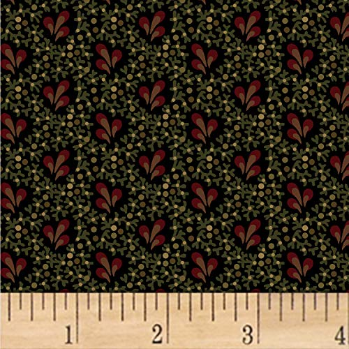 Pams Petals - Marcus Fabrics Pam Buda Primitive Threads Petals And Plumes Fabric, Black, Fabric By The Yard