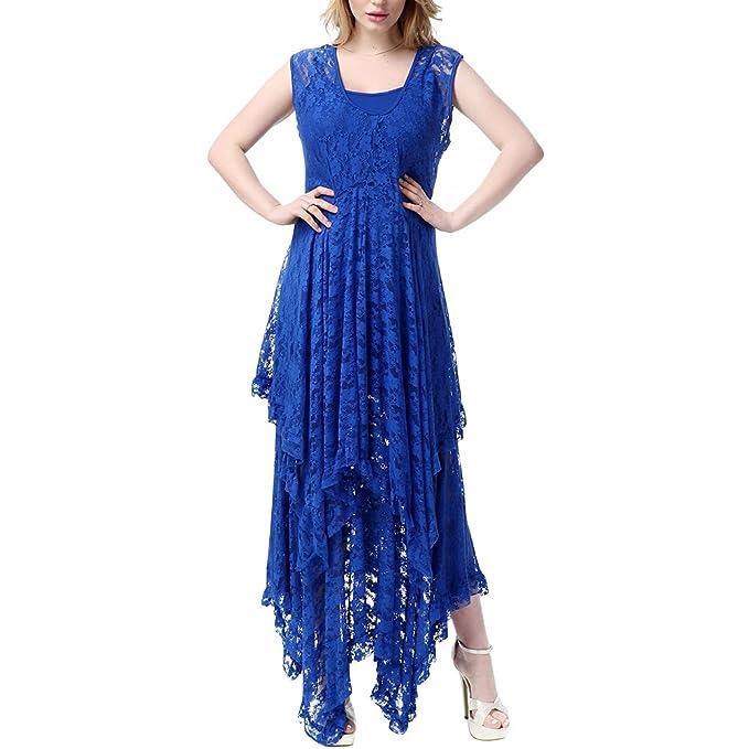OULII Vestido elegante de encaje sexy de dos piezas vestido irregular de dos piezas Vestido largo