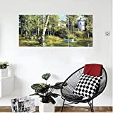 Liguo88 Custom canvas Apartment Decor Rural Scenery With An Old Ancient House Lake And Retro Tower Countryside Village Picture Bedroom Living Room Decor Green