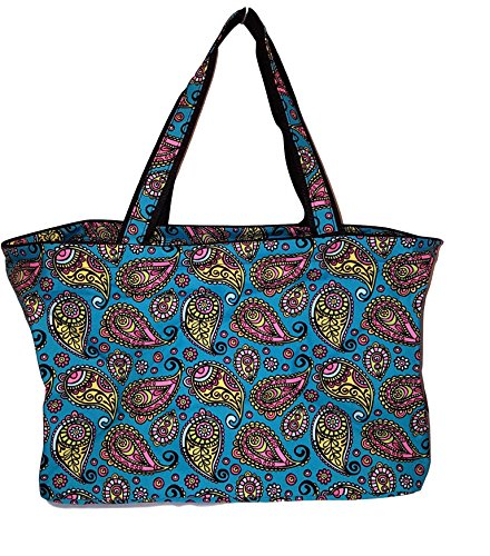 101 BEACH Ultimate Tailgate Tote Bag - Personalization Avauilable (Blue Paisley)