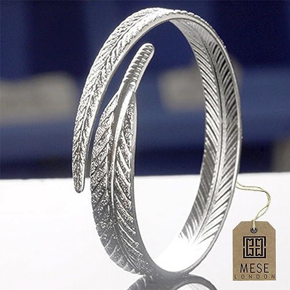 MESE London Feather Bangle - Silver Cuff Adjustable Bracelet 41Iao7