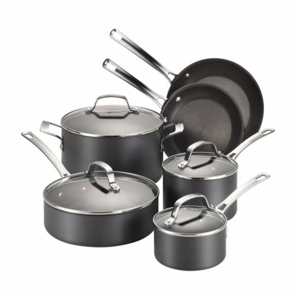 Circulon Genesis Hard-Anodized 10 Piece Cookware Set, Black