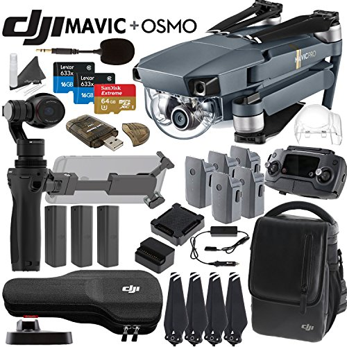 DJI-Mavic-Pro-Collapsible-Quadcopter-Osmo-Combo-Includes-3-Osmo-Batteries-DJI-Shoulder-Bag-5-Mavic-Batteries-Car-Charger-Charging-Hub-Spare-Propellers-SanDisk-64GB-MicroSD-Cards-and-more