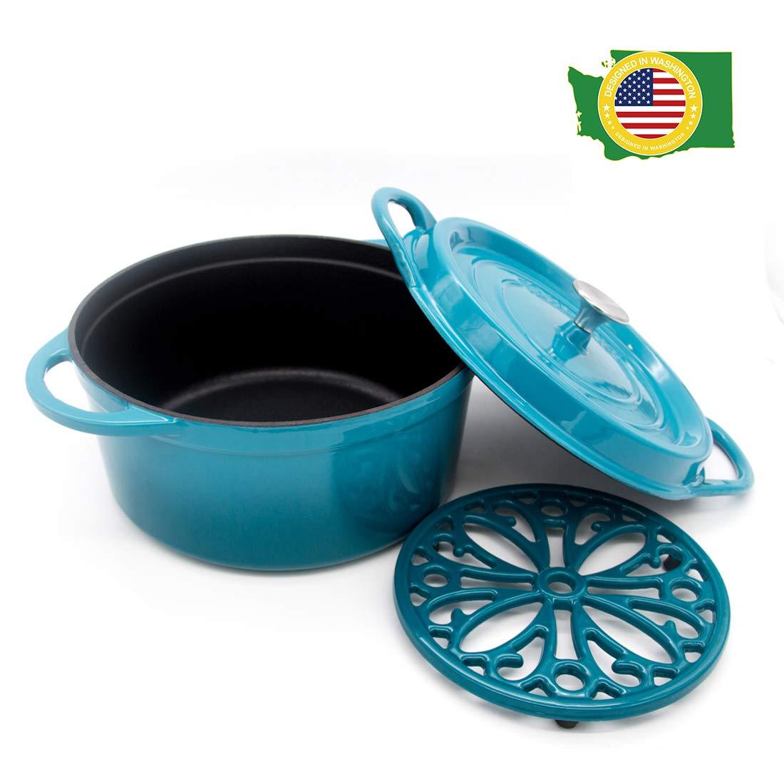 Cast Iron Dutch Oven with Lid Enameled Nonstick Cookware Trivet Dual Handles 6 Quart Blue T&H Danc