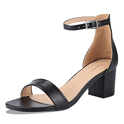 935cfa6497 Kivors Women's Chunky Open Toe Block Low Heeled Sandals Buckle Ankle Strap  Shoes (6M,