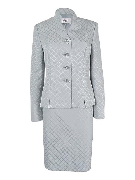 Amazon.com: Le traje de la mujer 4 Botón Collarless Falda ...