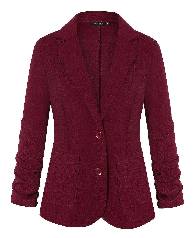 053wr ROOSEY Women's Stretch 3 4 Sleeve Casual Work Office Open Front Blazer Jacket