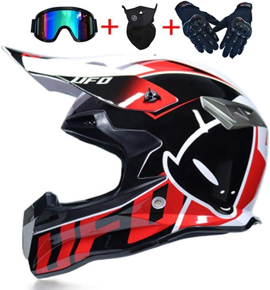 Caschi Moto off-Road Sport Enduro Downhill MTB BMX ATV del Casco NNYY Motocross Casco Moto Caschi Moto Cross UFO Mask Set con Occhiali Guanti