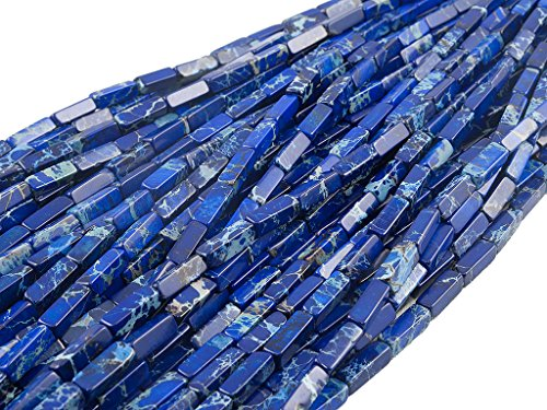 Green Forest Gems, DIY, Imperial Jasper, Lapis Blue, Color Enhanced, 4x4x13mm, Square-Rectangle Semi-Precious Gemstone Bead, About 40cm a Strand. Sold by Strand. (Please Click to See Other Options.)