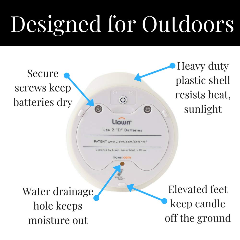Liown Outdoor Moving Flame Candle: LED Battery Operated Waterproof Plastic Flickering Indoor Outdoor Flameless Candles with Timer (7'' Ivory) by Liown (Image #4)