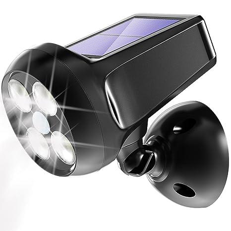 Foco solar ajustable 7 LED luz diurna blanca impermeable 2 en 1 luces de seguridad con sensor de oscuridad auto encendido//apagado