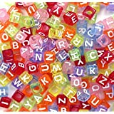 500PCS Beads Letter Beads Mixed Colorful Acrylic Plastic Beads Alphabet Beads for Jewellery Making for Bracelets Necklaces Key Chains and Kid Jewellery