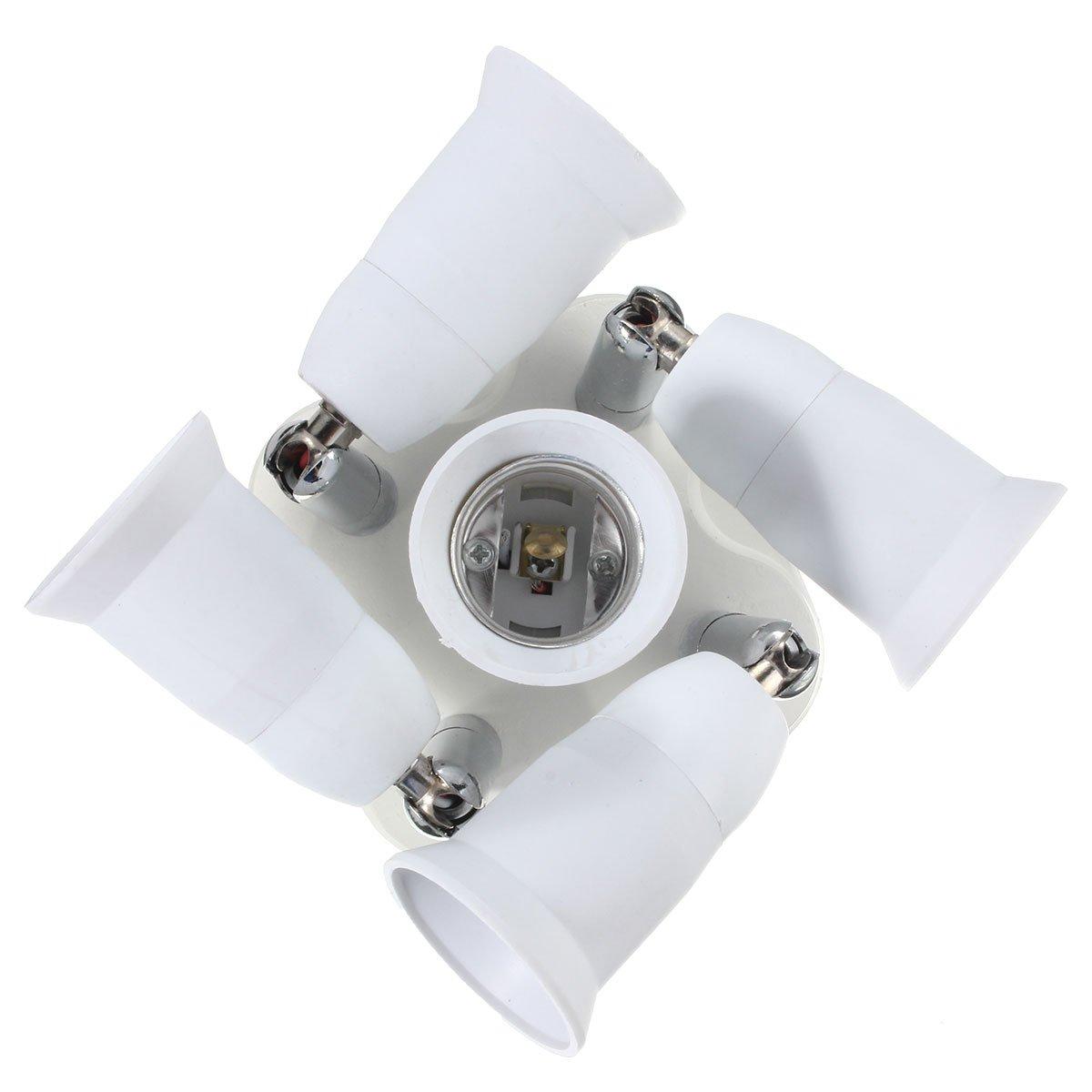 5 in 1 Light Socket Adapter KINGSO E26/E27 Splitter for Standard LED Bulbs Converter with 360 Degrees Adjustable 180 Degree Bending 110-240V 200℃ Heat Resistant No Fire Hazard by KINGSO (Image #2)