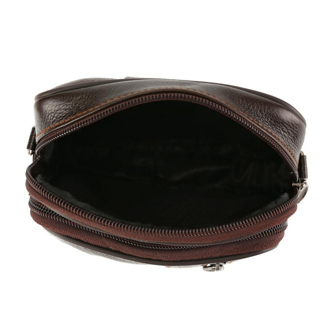 Messenger Bags, Men Vintage Small Leather Shoulder Crossbody Purse Casual Business (Brown) by Hechun (Image #9)