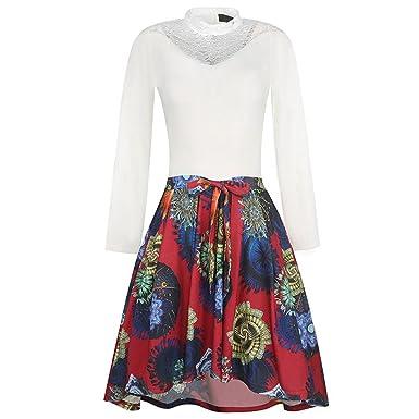 Xaviera 50 s de LA vendimia Vestidos LAS Mujeres Cuello Alto Color Block remiendo White S