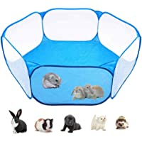 Fewao Small Animals Cage Tent Pop Open Small Animals Playpen Portable Outdoor Indoor Pet Exercise Fence Metal Wire Yard Fence Cage Tent for Guinea Pig Rabbits Hamster Chinchillas Hedgehogs