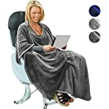 Portable Travel Blanket Airplane 4 in 1 Micro Mink Fleece Poncho Blanket Folable with Pocket and Built-in Bag - Great for Airplane Car Train Travel - Ultra Soft and Cozy, Fleece, Grey, 40x60