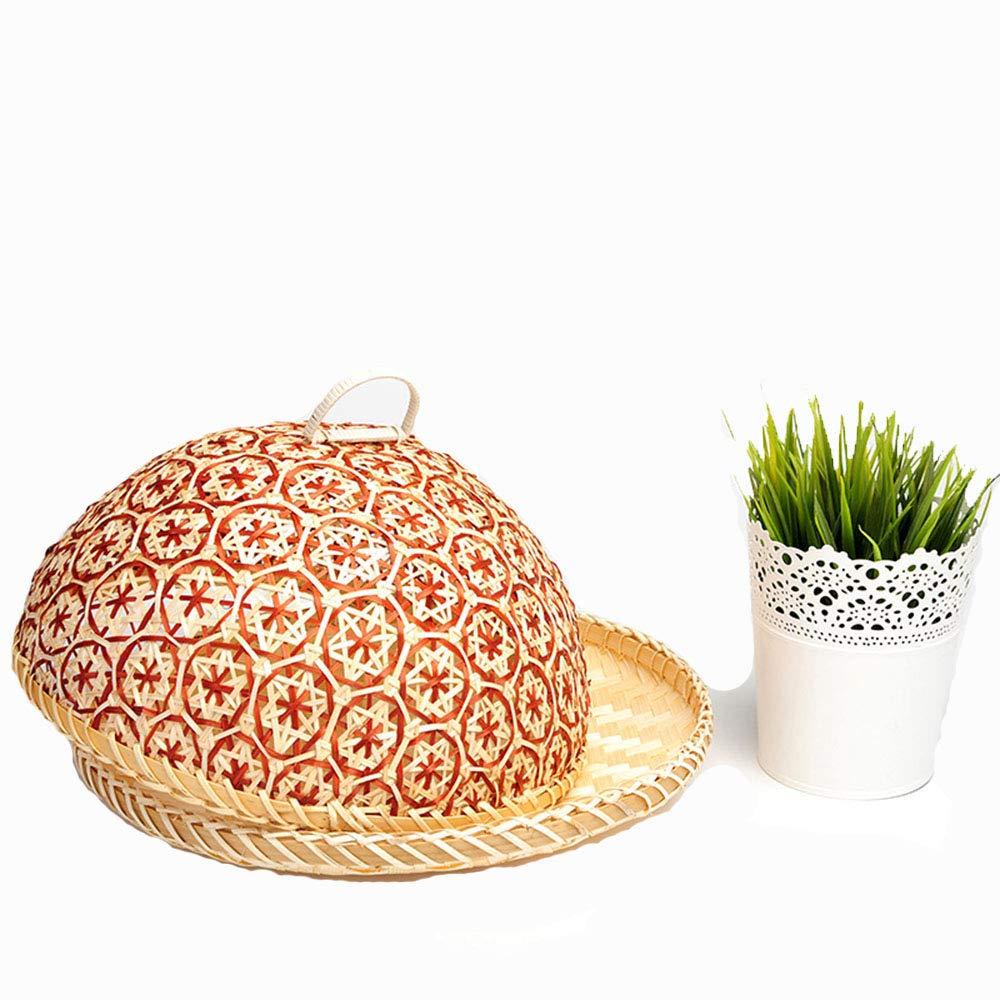 100% Bamboo Basket Handmade Dedicate Decor Gift Mesh Fly Food Lid Net Cover Serving Plate Bowl Fruit Bread Storage Container Holder Organizer Rack (No.4)