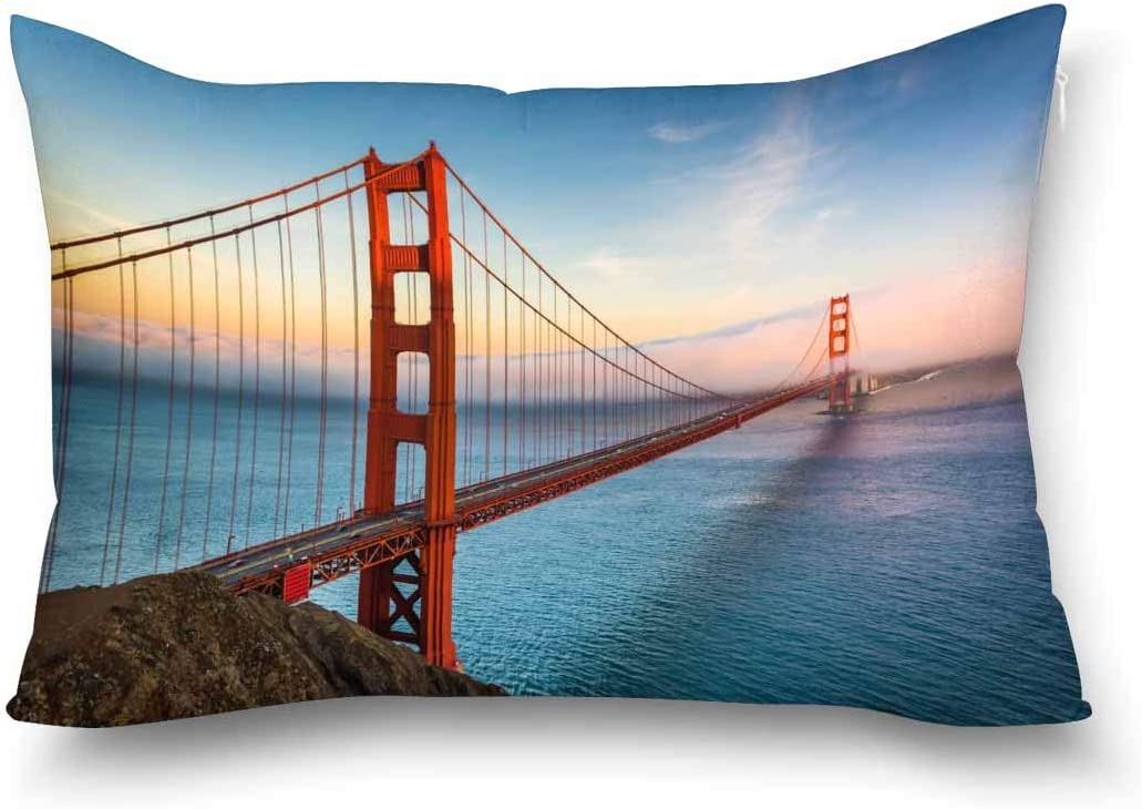 Interestprint Sunset View Of The Golden Gate Bridge In San Francisco California Decorative Pillow Case Cover Queen Size 20x30 Inch With Zipper Rectangle Pillowcase Protector Home Decor Home Kitchen