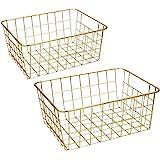 Wire Baskets, Gold 2 Pack Wire Basket, Organizing Storage Crafts Decor Kitchen (Gold Copper)