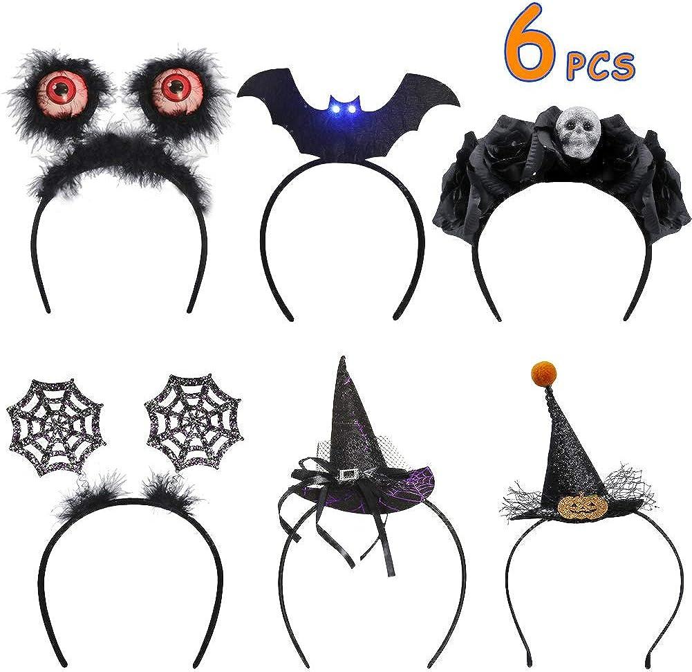 Spider Web Headbands Brwoynn 6 Pack Halloween Headbands Halloween Costume Cosplay Party Headbands Witch Hat Headbands Rose Floral Crown Skull Headbands Eyeball Boppers LED Flashing Eyes Headbands