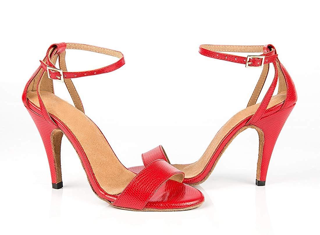 Qiusa Woherren Schlanke Knöchelriemen Tango Latin Latin Latin Dancing Sandalen Hochzeitsschuhe (Farbe   Rot Größe   7.5 UK) 6c3b6b