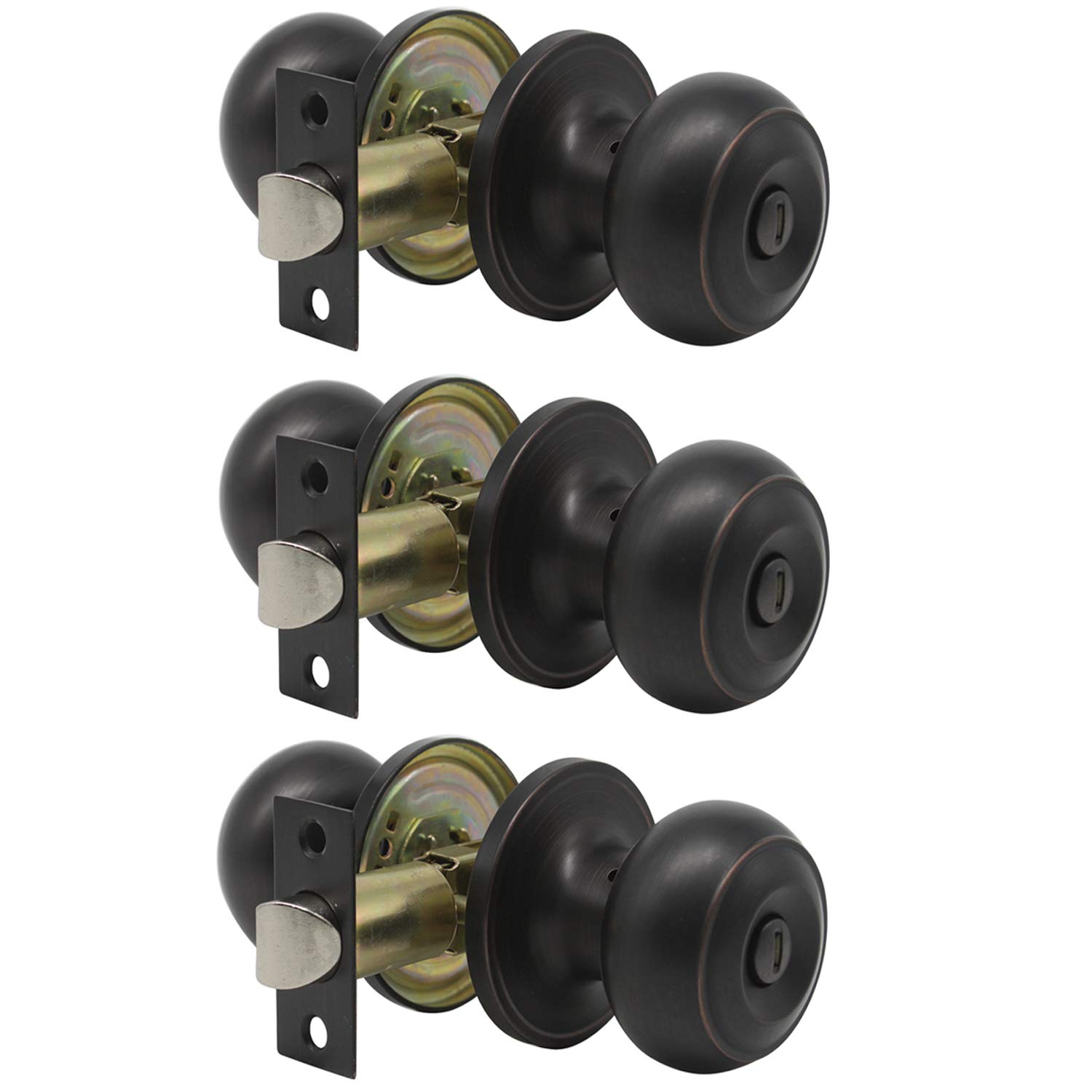 Probrico Privacy Bed and Bath Handle Leverset Oil Rubbed Bronze Door Knobs Keyless Handle Lockset 3 Pack
