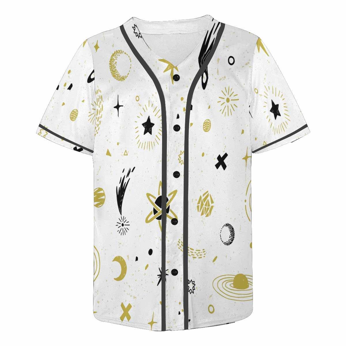 INTERESTPRINT Mens Button Down Baseball Jersey Cosmic Sky