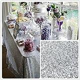 10PCS Silver Sequin Tablecloth, Silver Wedding Tablecloth, Silver Sequin Tablecloth Overlay, Sparkly Sequin Tablecloth Silver Rectangle (90x132in)