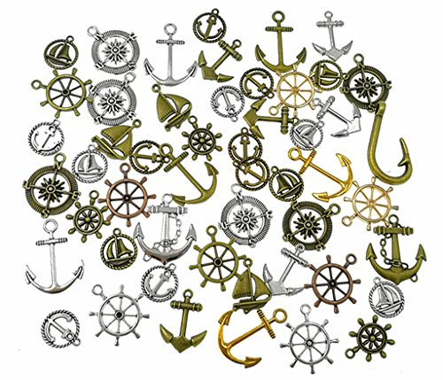 HuanX35 100 Grams Assorted(Color&Style) Nautical Anchor Rudder Helm Compass Punk Steampunk Charm Pendant Connector for Sailor Navy DIY Ornaments Making Accessories By Alimitopia -