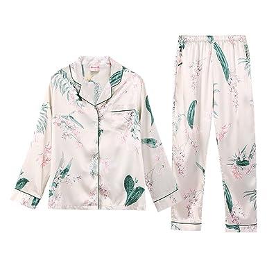Estampados Para Mujeres Pijamas Pantalones De Manga Larga Pijamas Trajes De Cuello En V Sweet Small Lapels: Amazon.es: Ropa y accesorios