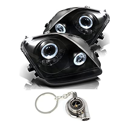Amazon.com: Honda Prelude Projector Headlights LED Halo Black Housing With Clear Lens + Free Gift Key Chain Spinning Turbo Bearing: Automotive