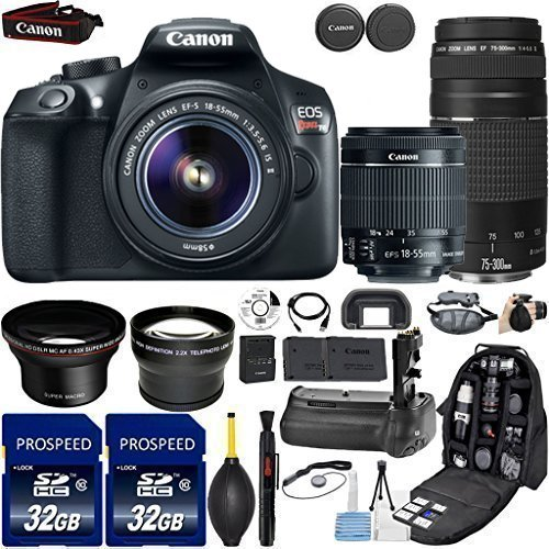 Canon-EOS-Rebel-T6-DSLR-Camera-with-18-55mm-IS-II-Lens-Canon-EF-75-300mm-f4-56-III-Kit-Includes-58mm-HD-Wide-Angle-22x-Telephoto-2Pcs-32GB-Commander-Card-Battery-Grip-Extra-Battery