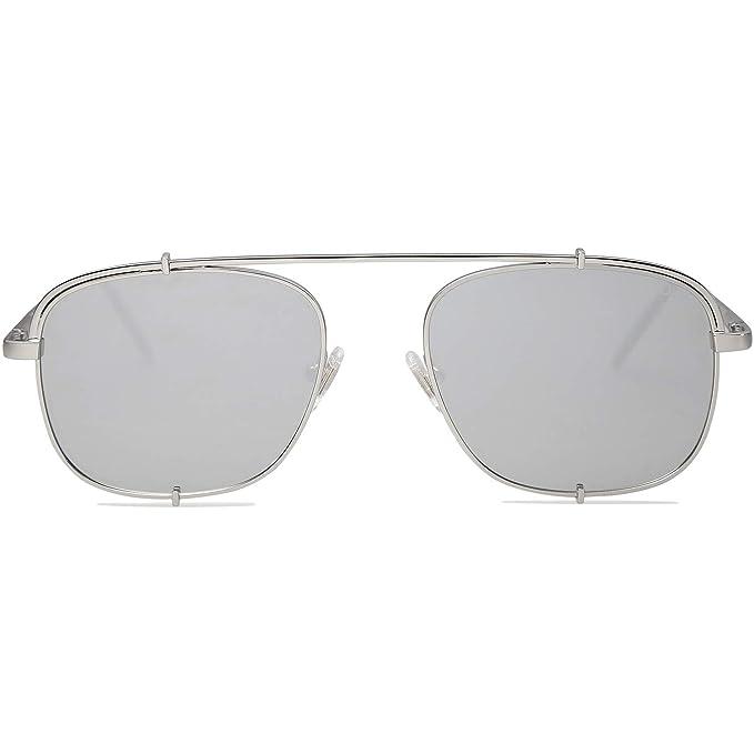 6cfde3e62e0e6 SOJOS Small Square Polarized Sunglasses with Spring Hinges Mirrored Lens  SUNRAYS SJ1103 with Silver Frame