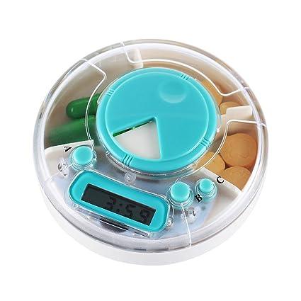 Happy FD – Dispensador de pastillas automático electrónico Organizador de Medicamentos, con las alertas de