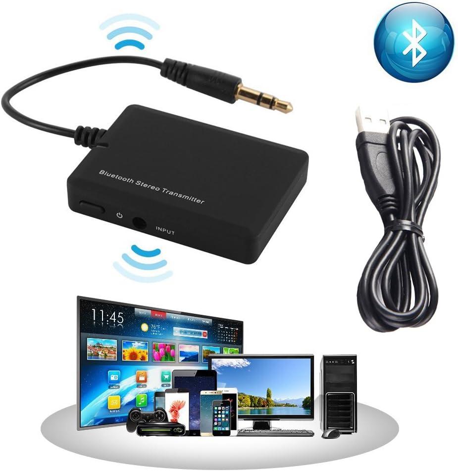 Adaptador y transmisor estéreo Bluetooth inalámbrico portátil para TV, computadora de escritorio, computadora portátil,reproductor de MP3,dispositivos de audio con conector de audio de 3,5 mm