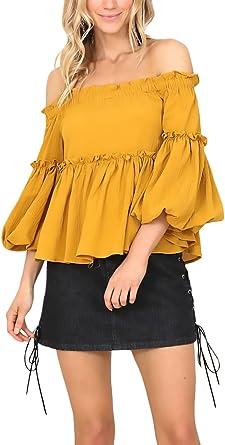 Mujer Camisas Amarilla Elegantes con Volantes Blusas Trompeta Manga Hombros Descubiertos Barco Cuello Camisetas Color Sólido Plisado Anchas Moda Fiesta Otoño Tops T Shirt: Amazon.es: Ropa y accesorios