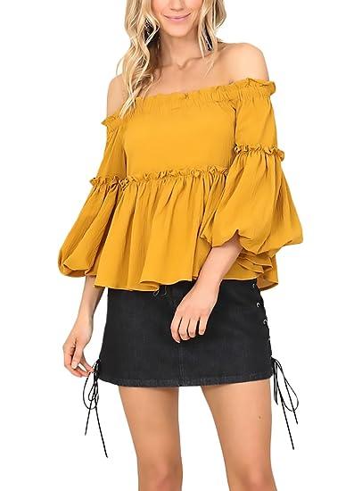 Mujer Camisas Amarilla Elegantes con Volantes Blusas Trompeta Manga Hombros Descubiertos Barco Cuello Niñas Ropa Camisetas