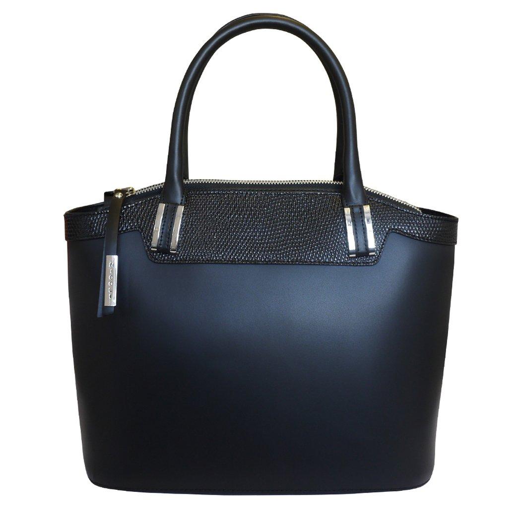 Nicoli 'Eleganza' Designer Italian Leather Tote Bag Grab Handbag Wedding Bag - Black