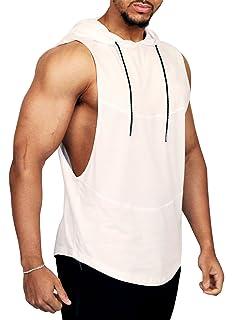 1449ff605d7ecb PAIZH Men s Workout Sleeveless Shirt See Through Pattern Stringer Hooded Tank  Top