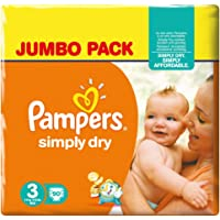Pampers Simply Dry Midi, Taglia 3 (4-9 kg) - 180 Pannolini