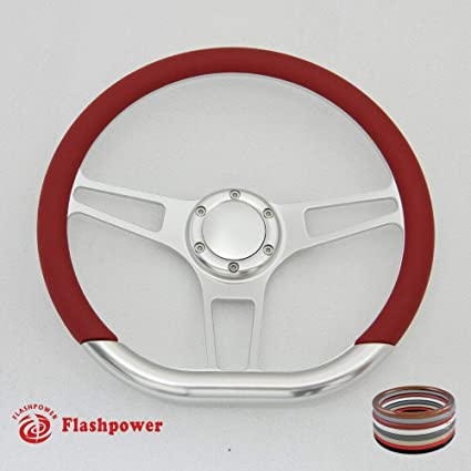 Black Flashpower 14 Billet Half Wrap 9 Bolts Steering Wheel with 2 Dish and Horn Button
