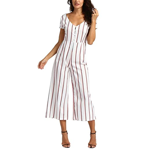 4c5be0c9eb08 Amazon.com  Kanzd Women Sleeveless Striped Jumpsuit Casual Clubwear Wide Leg  Pants Outfit  Clothing