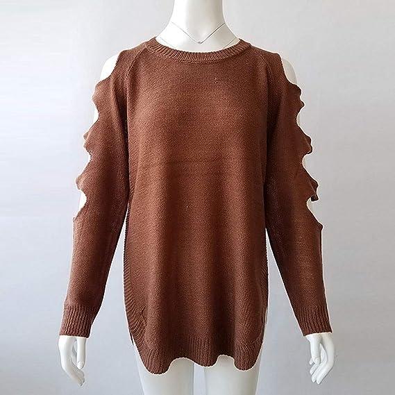 Fuxitoggo Suéter de Punto para Mujer Cuello Redondo Manga ...