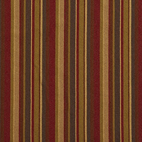 Nutmeg Beige and Brown Stripe Red Small Stripe Tweed Upholstery Fabric by the yard (Upholstery Stripe)