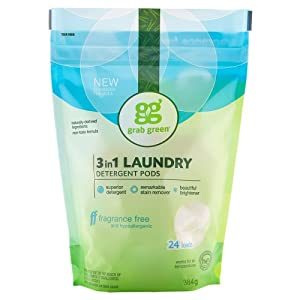 Grab Green Natural 3 in 1 Laundry Detergent Pods, Fragrance Free, Organic Enzyme-Powered, Plant & Mineral-Based, Free & Clear/Unscented, 24 Loads (6 Pack)